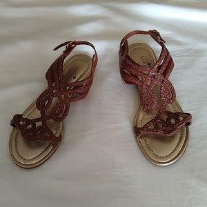 Kate Spade Strappy Brown Gold Sandal Sz 7